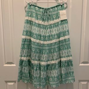 Emma James Sheer Blooms Cotton Long Skirt. Size 8